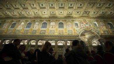 Santa Maria Maggiore, Reali di Spagna nella basilica a inaugurazione delle nuove luci      vd