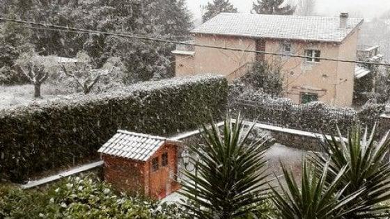 Il freddo è arrivato, la neve imbianca i Castelli romani