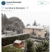 Castelli romani, arriva la neve: strade imbiancate e disagi alla circolazione