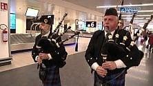 Cornamuse a Fiumicino per la nazionale scozzese