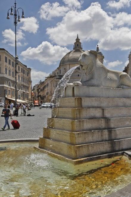 Le fontane di piazza del Popolo invase da licheni e mucillagine