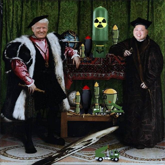 Roma, Trump e Kim Jong-un nella  nuova opera di Sirante
