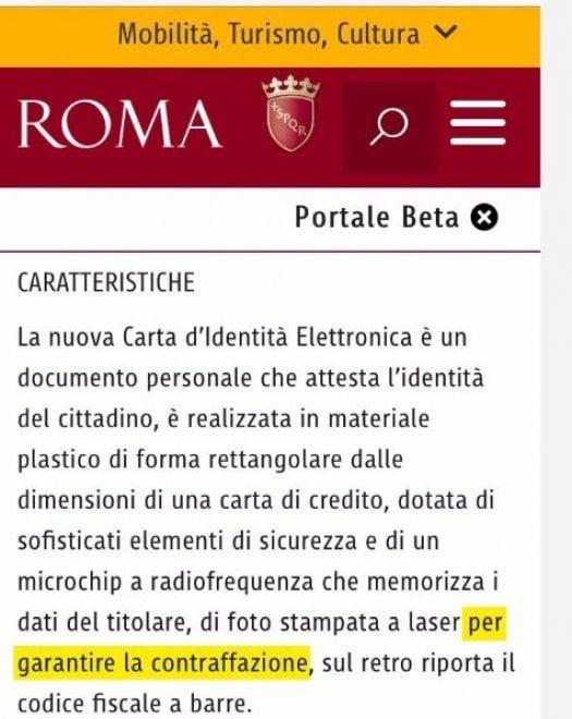 Carte identità elettroniche a prova di contraffazione:  gaffe sul sito del Comune di Roma