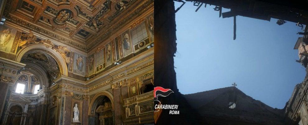 Roma, crolla il tetto della chiesa: le immagini del soffitto a cassettoni che non esiste più