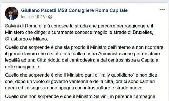 Rally tra le buche, da M5S bordate a Salvini.  E per il Bilancio in Comune non c'è più tempo