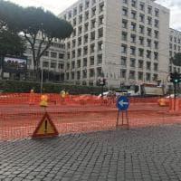 Roma, lavori in corso alle Terme di Caracalla per linea tramviaria.  Traffico in tilt