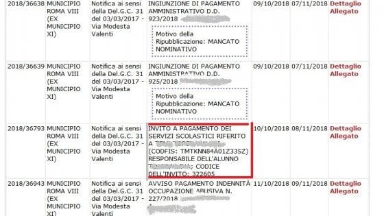 Roma, il padre migrante non paga la mensa: sull'Albo pretorio finisce il nome della bambina