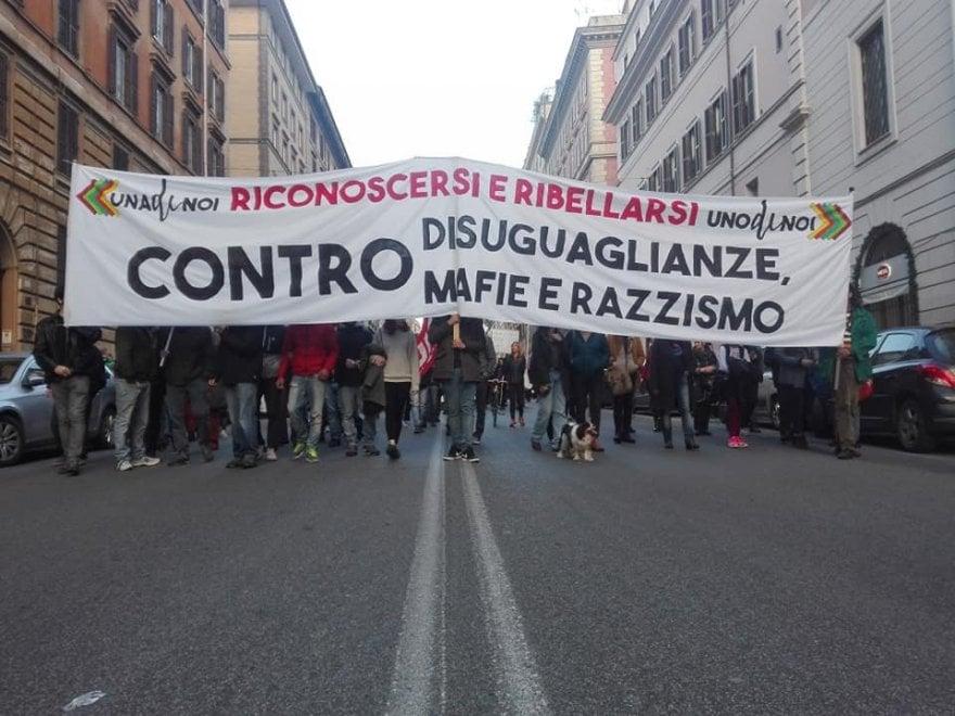 Roma, il corteo della nuova onda sociale di 1 di Noi contro disuguaglianze, mafie e razzismo