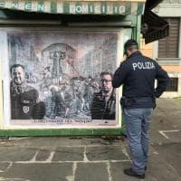 Roma, spunta murales con Salvini, Bonafede e Battisti alla gogna: interviene la polizia