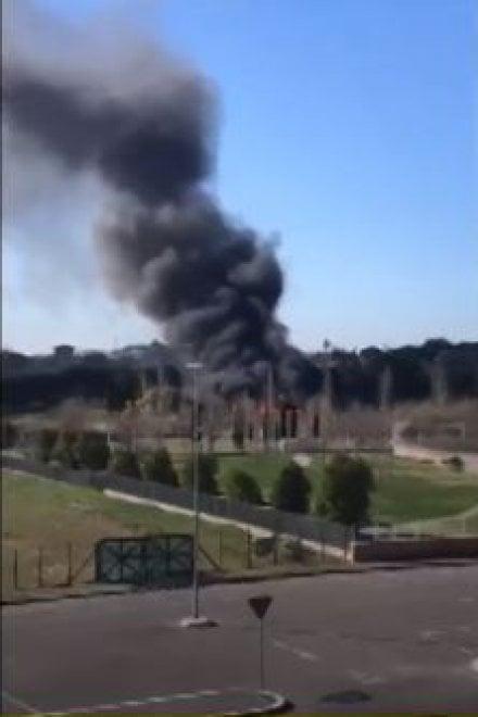 Roma, colonna di fumo nero a Cinquina: in fiamme rifiuti e materiali di risulta. Salvati tre cani