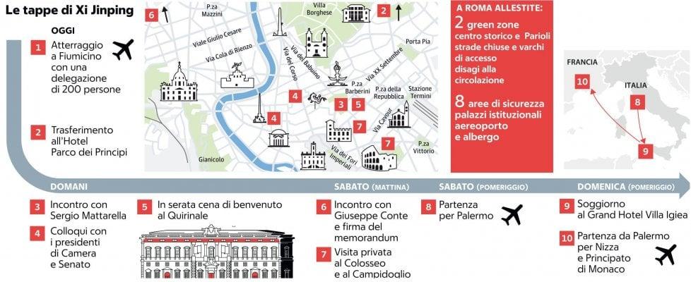 Roma blindata per l'arrivo del presidente cinese Xi Jinping: due zone di sicurezza