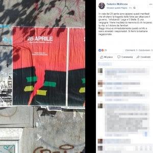 """Manifesto del 25 aprile, scontro tra Fdl e antifascisti: """"Raffigura le foibe"""". """"No, un'onda rossa"""""""