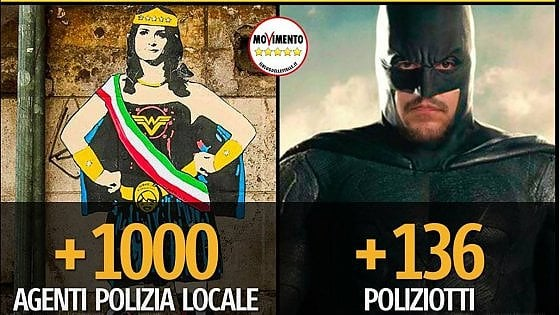 """Roma, lo scontro Raggi-Salvini diventa cartoon: Wonder Woman vs Batman. Il Pd: """"I veri supereroi sono i romani"""""""