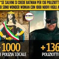 "Roma, lo scontro Raggi-Salvini diventa cartoon: Wonder Woman vs Batman. Il Pd: ""I veri..."