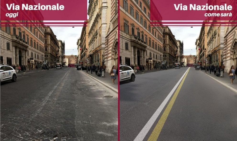 Sanpietrini, prima e dopo: ecco come cambiano via Condotti, via Nazionale, via del Corso
