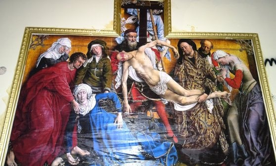 Roma, il 'calvario di Cucchi' nell'ultima opera dello street artist Sirante