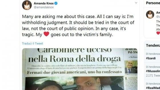 """Carabiniere ucciso, Amanda Knox: """"Il processo si svolga in tribunale, non nell'opinione pubblica"""""""