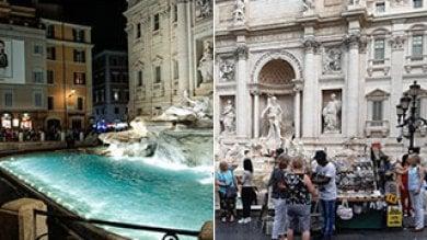 Nuove luci a Fontana di Trevi  foto  Ma il giorno dopo è ancora suk