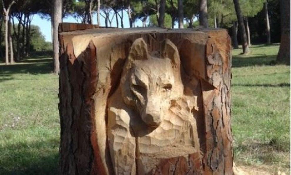 Roma, il tronco del pino abbattuto diventa una scultura