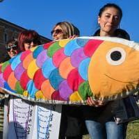 Sardine a Roma, piazza San Giovanni si riempie di cartelloni colorati a forma di pesce