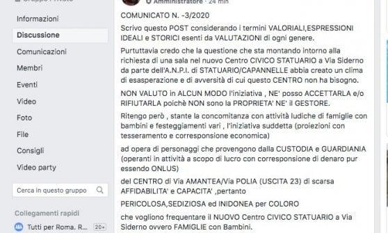 """Roma,  boicottata la manifestazione dell'Anpi al centro civico: """"Iniziativa sediziosa e pericolosa"""""""