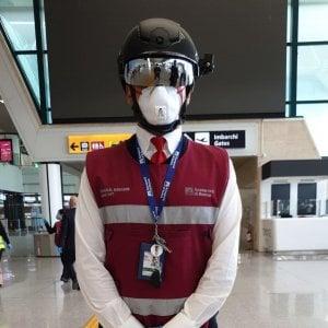 Coronavirus, a Fiumicino debutta lo Smart Helmet, il termoscanner portatile