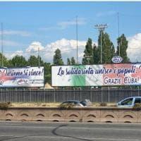 Italia-Cuba, lo striscione di ringraziamento