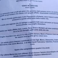 Morte di Ennio Morricone, il necrologio scritto dal Maestro: