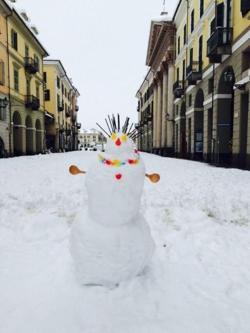 I pupazzi di neve degli scolari di Cuneo