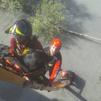 La disavventura del meticcio Beppe: cade nella Dora e si spezza due zampe, salvato dai vigili del fuoco