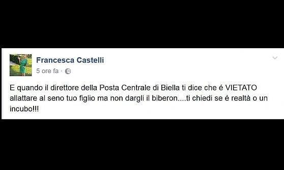 """Biella, allatta il figlio all'ufficio postale: """"Signora, al seno è vietato, se ne deve andare"""""""