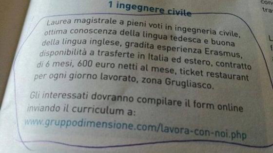 """Torino, azienda cerca ingegnere trilingue a 600 euro al mese: è polemica. Parla l'imprenditore: """"E' uno stage"""""""