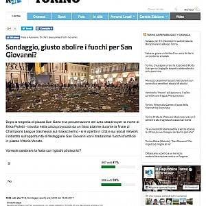 Torino: il sondaggio di Repubblica Torino boccia i fuochi di San Giovanni