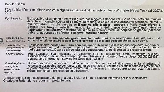 Airbag pericolosi, Fca si offre di riparare a proprie spese ottomila Jeep Wrangler