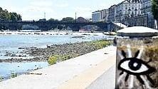 Il Po a Torino,    la diga Michelotti    lo lascia in secca