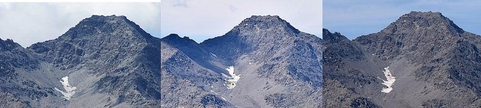 Il nevaio della Ramiere fotografato per tre anni consecutivi il 17 agosto: ecco come si è ridotto