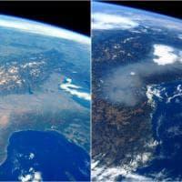 Pianura Padana, il vento spazza via lo smog: fotoconfronto dallo spazio