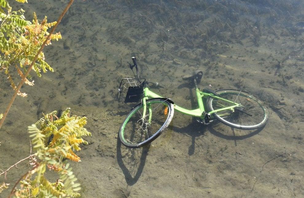 """Torino, le nuove bici """"free floating"""" finiscono nel Po"""