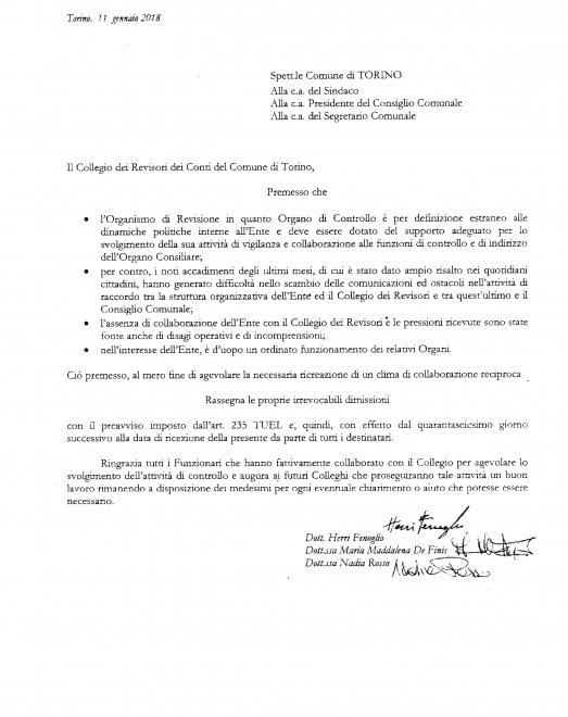 La lettera di dimissioni dei revisori dei conti del Comune di Torino