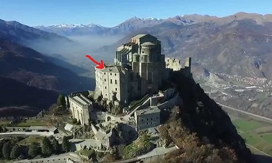 Burns the roof of the convent of the Sacra di San Michele, symbol ...