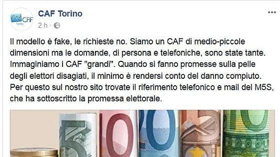 """Torino, l'annuncio polemico del Caf: """"Reddito di cittadinanza? Chiedete ai 5 Stelle"""""""
