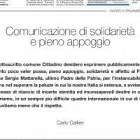 Torino, compra mezza pagina sul giornale per esprimere solidarietà a Mattarella