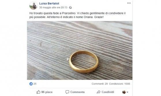Pinerolo, l'anello nuziale smarrito dopo la festa di trent'anni fa ritrovato nello stesso punto