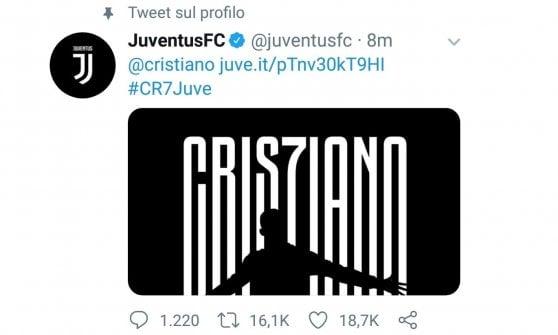 E' ufficiale, Ronaldo è un giocatore della Juve: arriverà a Torino lunedì per le visite mediche