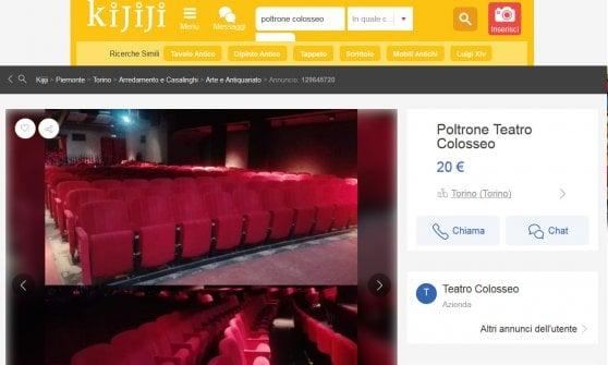 Torino, vanno a ruba online le poltrone in vendita del teatro Colosseo
