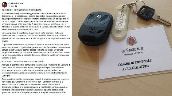 """Insulti al Pd, si dimette il consigliere M5s di Moncalieri: """"Mi sono pentito ma non basta, minacce alla mia famiglia"""""""