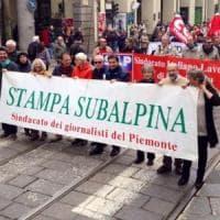 Giornalisti in piazza anche a Torino: