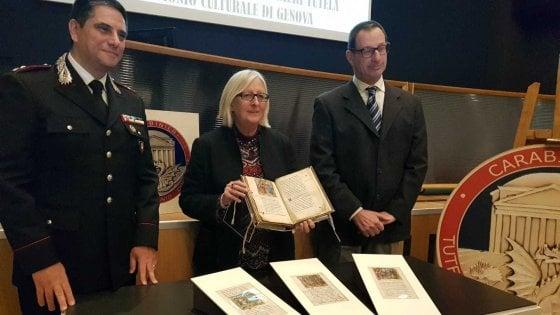 Torino, ritrovate dai carabinieri tre miniature rubate 40 anni fa alla Biblioteca Nazionale