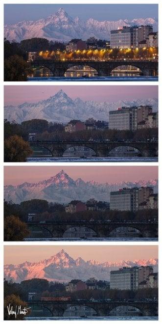 La luce dell'alba svela il Monviso colorato di rosa: panorama mozzafiato stamattina a Torino