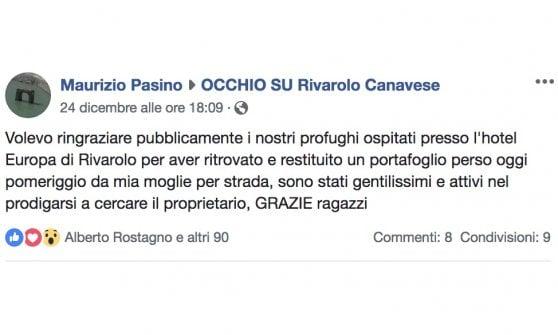 """Rivarolo, profughi trovano portafoglio e rintracciano il proprietario che li ringrazia su Facebook: """"Attivi e gentilissimi"""""""